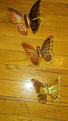wall hanging gold tone butterflies total three
