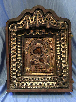 Antique Russian Hand Painted Icon Virgin of Vladimir with box 19 th. century