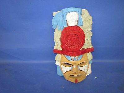 Brightly Colored Terra Cotta Mexican Aztec Mayan Inca Wall Hanging Mask