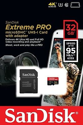 SanDisk Extreme PRO 32 GB microSDHC Memory Card + SD Adapter up to 95 MB/s,