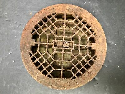 Cast Iron Antique Round Ornate Floor Grate Cover W/ Back OPENS/CLOSES 8 1/2 Inch