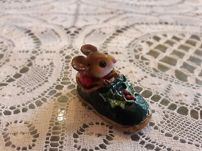 Wee Forest Folk CHRISTMAS M-166 Chris-Mouse Slipper in GREEN  Mint/Retired/Box