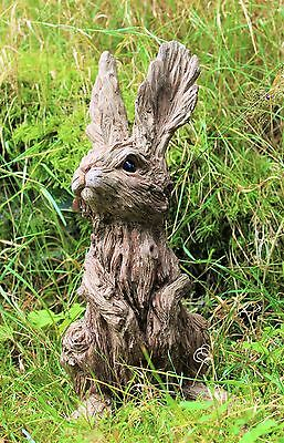 Garden Ornament Rabbit Hare Sculpture indoor outdoor Wood Effect