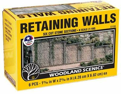 NEW Woodland N/HO Train Scenery Cut Stone Retaining Walls (6) C1159