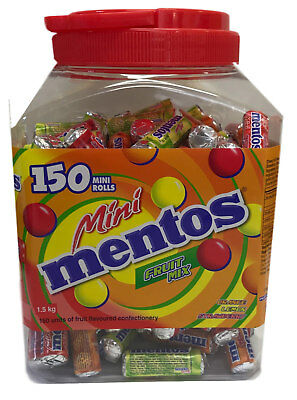 Bulk Lollies 150 x Mentos Mini Rolls Lollies Fruit Assorted 1.5kg Candy Buffet