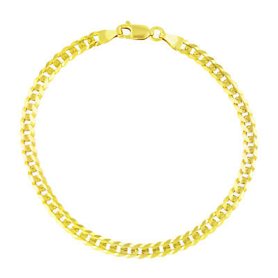 """14K Yellow Gold 3.5MM Womens 9in Cuban Curb Link Chain Bracelet or Anklet 9"""""""
