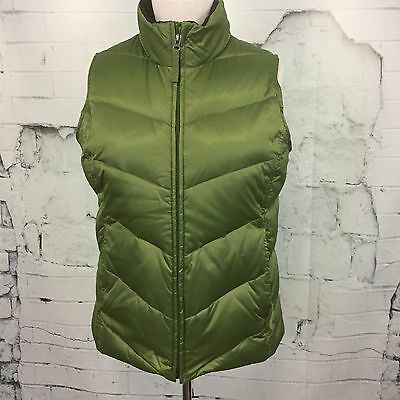 EDDIE BAUER Goose Down Fill Green Quilted Puffer Vest Women's Small S