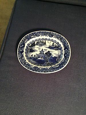 """ENGLISH TRANSFER PRINT BLUE AND WHITE SMALL PLATTER   7 3/4""""  6 5/8 C 1790s"""