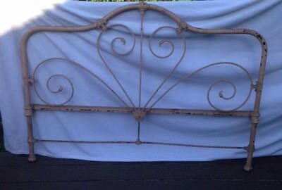 VINTAGE WROUGHT IRON Full Size ornate headboard chippy paint