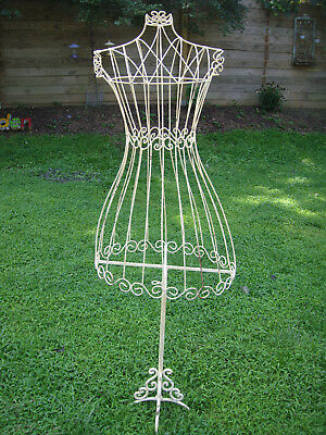 *** Local Pickup Only *** Full Size Cream Decorative Wire Dress Form / Mannequin
