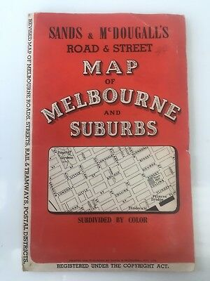 Sands & McDougalls Road & Street Map of Melbourne & Suburbs Subdivided by Colour