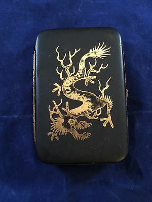 Vintage Antique Small Metal Cigarette or Card Case JAPAN Dragon Image