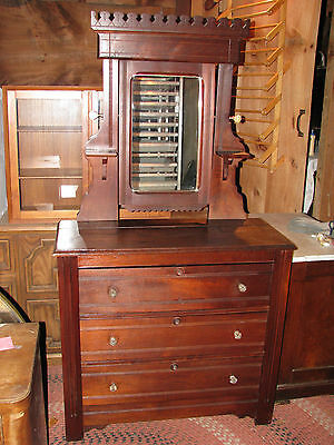 Lovely Victorian/Eastlake Style Chest of Drawers W/Cheval Mirror