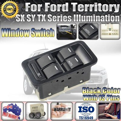 Master Power Window Switch for Ford Territory SX SY TX Illuminated Black 13 Pin.