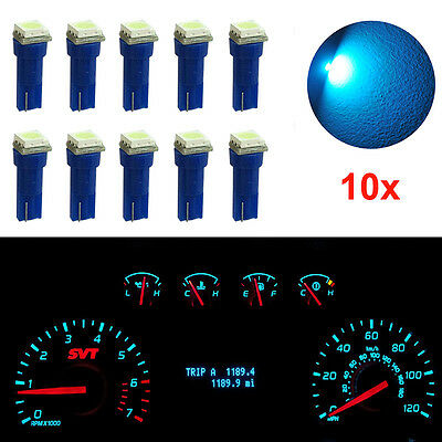 10x T5 70 37 17 Wedge 1-SMD LED Instrument Panel Lights Indicator Bulbs Ice Blue
