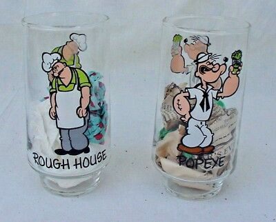 "Vintage 1975 Popeye & Rough House 6"" Drinking Glasses By the Coca Cola Company"
