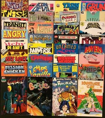 UNDERGROUND Comic Books Lot of 32 ALL #1 ISSUES Independent Publishers 1980's