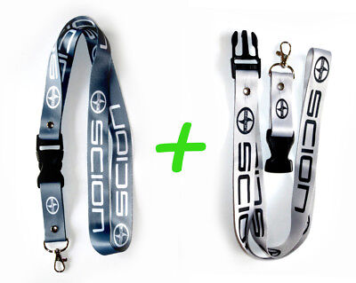 2x SCION Lanyards 1 inch x 22 inch KeyChain ID Badge Cardholder Dark Light Gray