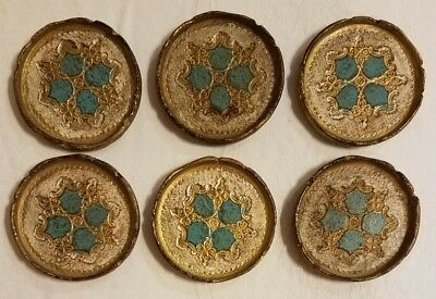 Vintage Set of 6 Florentine Hand Painted Italian Coasters Floral and Gold