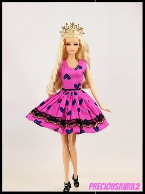 Barbie Doll Clothes Bright Pink Dress/Clothing/Outfit/Party/Summer/Casual/Summer