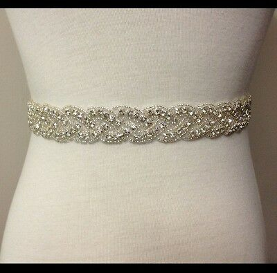 17 Inch Bead, ivory Wedding Belt Sash, Swarovski beaded sash