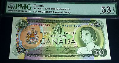 1969  *WV $20 Asterisk Replacement , BANK OF CANADA  Banknote PMG About Unc 53