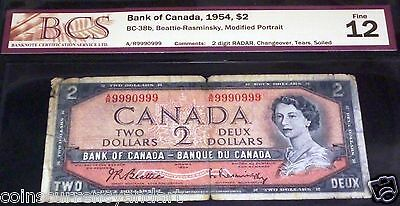Almost Solid 9990999 .1954 Bank Of Canada $2