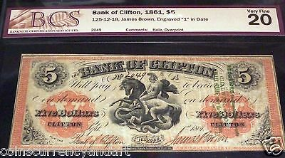 RARE CHADWICK OVERPRINT1861 $5 BANK OF CLIFTON Canada Saint George & the Dragon