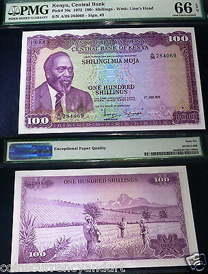 Kenya 1972 Pmg 66  Gem Uncirculated (100/- Kenyan Shillings)