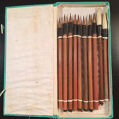 Vintage Chinese Writing Calligraphy Brush 10 Piece in Set in Box