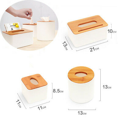 Plastic Home Room Car Hotel Tissue Box Wooden Cover Paper Napkin Holder Case AAU