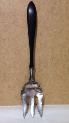 Vintage black handle ornate serving salad fork comfortable