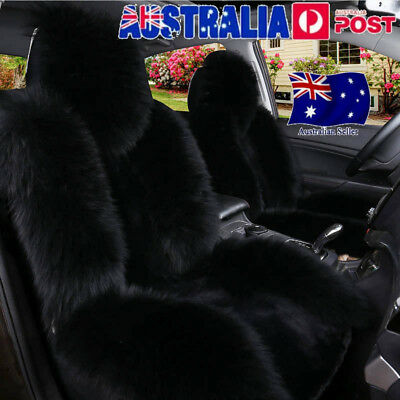 Black Premium Quality Australian Sheep Skin Car Long Wool Front Seat Covers Mats