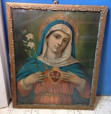 Vintage Sacred Heart Of Mary Lithograph 2921 framed w/ glass early 1900's