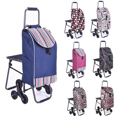 Multipurpose Shopping Grocery Cart Bag Laundry Stair Climb +Seat Detachable SFW