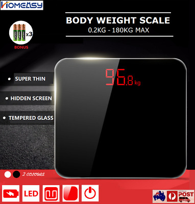 Hidden Screen Digital Body Weight Scale Bathroom Gym Glass LED Electronic OZ