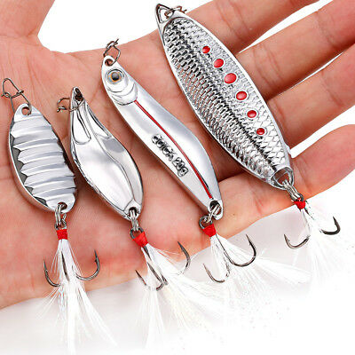 4pcs Spoon Fishing Lure Silver Color Sea Fishing Bait Pike Trout Spinners