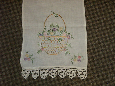 Lot of 5 Vintage Embroidered Linens~Table Runners/Dresser Scarves/Scarf~PINKS