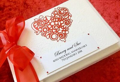 Ruby Wedding Gift 40th Anniversary Personalised Guest Memory Photo Book Boxed