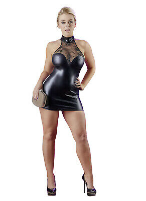 Mini Abito Aderente in Wetlook con Inserto in Pizzo Colletto Alto Sexy Club Wear