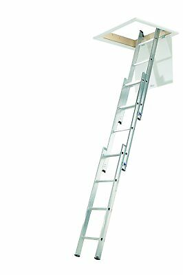 3 Section Compact Aluminium Loft Ladder New Sturdy Aluminum Step Ladder Silver