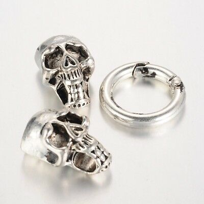 Skull Cord Clasp for Bracelet / Necklace Shiny Silver Necklace Skull Clasp