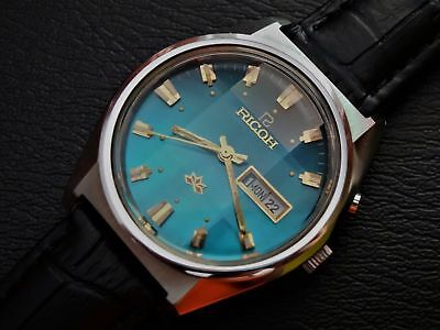 NOS Ricoh vintage automatic watch, blue dial, new old stock