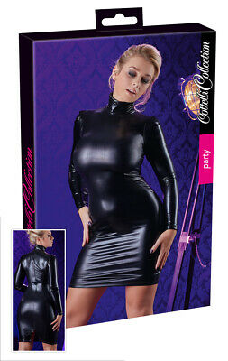Sexy Mini abito in tessuto Wetlook con colletto maniche lunghe Mistress Clubwear