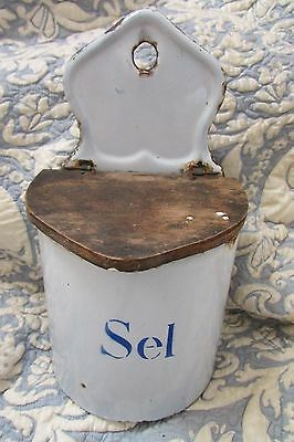 Antique French Enamelware Graniteware Sel/salt Hanging Pot Kitchen Blue & White