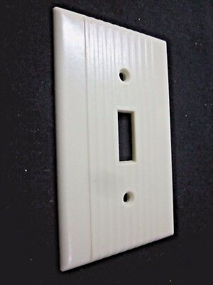 Vintage Leviton Ribbed Lines Ivory Color Bakelite Switch Toggle Plate Cover Deco