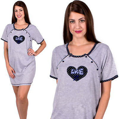 Maternity Nursing Nightshirt Nightwear Breastfeeding Nightdress Size 8 10 12 14