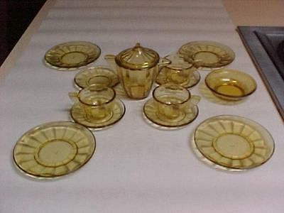 Akro Agate INTERIOR PANEL Lg Amber Depression Glass 14 pc Partial Childs Tea Set