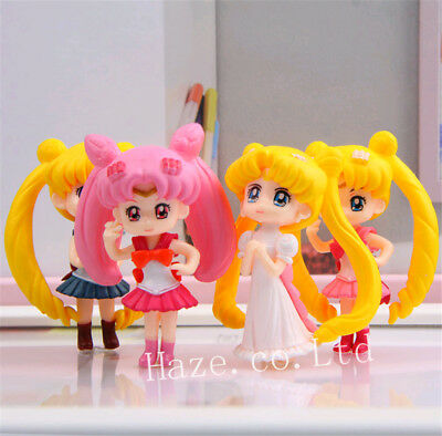 4pcs/set Anime Sailor Moon PVC Figures Figurine maquette Jouets Cadeau