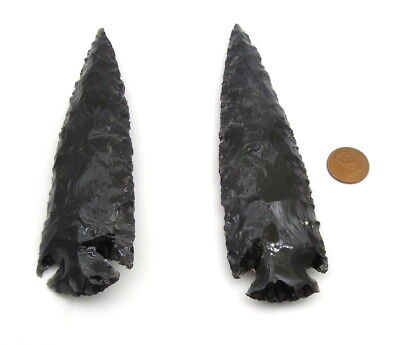 "4"" Inches Native Handcrafted Black Obsidian Arrowheads Spear Flint Stones"